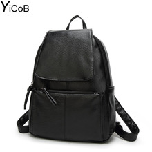 YiCoB Fashion Backpacks for Teenage Girls School Bags Women Solid PU Leather Backpack Ladies Travel Rucksacks Student Bookbag A4(China)