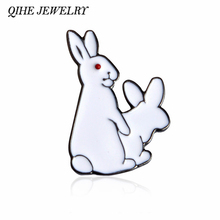 QIHE JEWELRY 2 White Rabbits Evil Brooch Pins Gold Hard Enamel Kawaii Pins Animal Brooch Jewelry Gift Idea For Girl Boy(China)