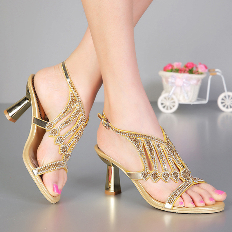 Handmade Summer  Black Silver Wedding ShoesBridal Shoes Fashion Chunky Heel Rhinestone High Heel Sandals Plus Size 34-43<br><br>Aliexpress