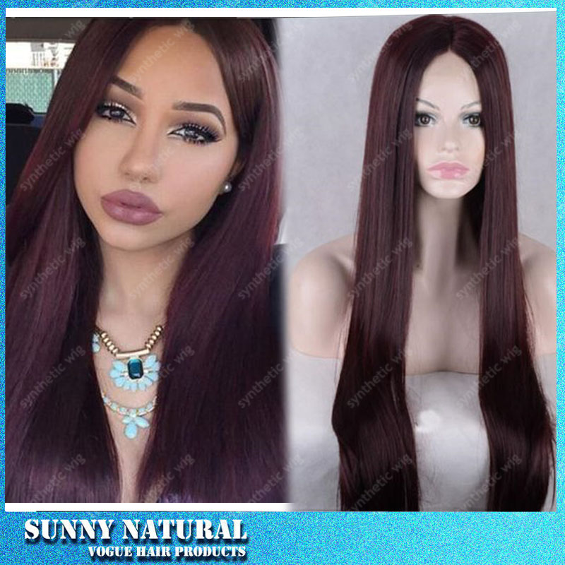 Straight hair wig for black women 99J color synthetic lace front wig long silk straight wig synthetic heat resistant wig<br><br>Aliexpress
