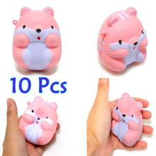 10Pcs New 8CM Jumbo Kawaii Cute Hamster Mouse Squishy Super Slow Rising Sweet Soft Scented Soft Doll Phone Strap Toys Wholesales