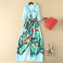 Mexican cactus print ladies long dress women autumn dress notched collar 3/4 sleeve belt floor length robe maxi gown for women