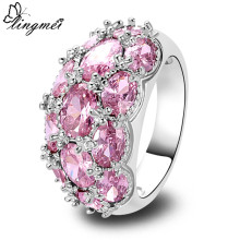 lingmei Gorgeous Pink CZ Jewelry  Silver Ring Size 6 7 8 9 10 11 12 13 Fashion Women Popular Engagement Wholesale Free Ship