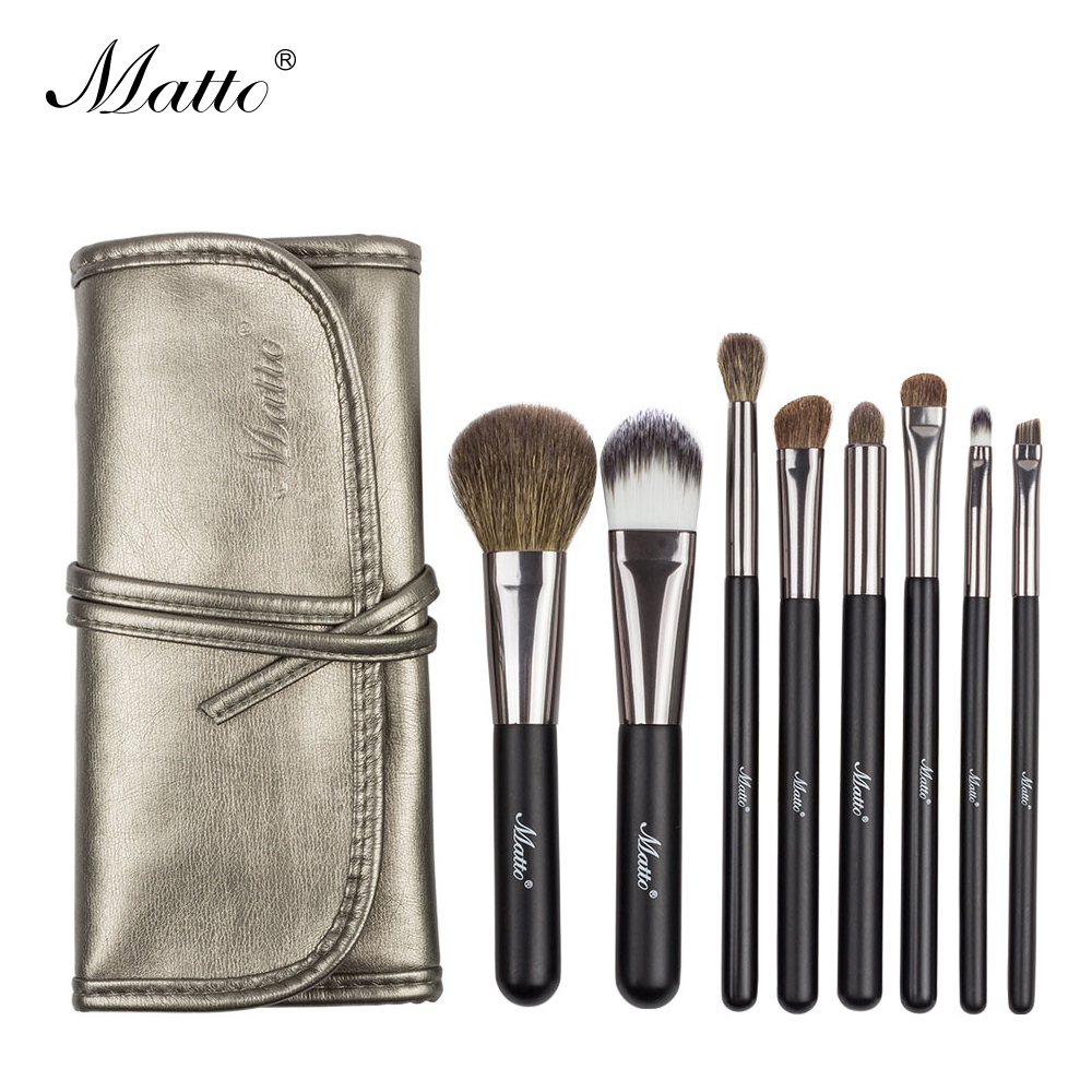 Matto Makeup Brushes Set Goat Hair Cosmetics Brushes for Makeup Beauty Make Up Tools Kit for Powder Blusher Eye Shadow Lip 8pcs(China)