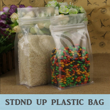 Clear Color Standup Gusseted PET Bag With Zipper Closure, great for food storage use 100Pcs/Lot