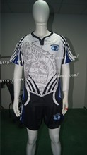 Blue Black White Cool Design Rugby Uniforms With Custom Chest Logos(China)