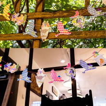 3pcs x 1.8M Copper Paper 12 Artificial Free Bird Flag Double Print Bunting Garland Banner Kid wedding Church Decor Background