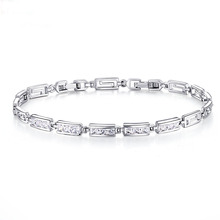 Women's fashion wholesale jewelry crystal bracelet classic simple friendship silver bracelet love bracelet jewelry channels(China)