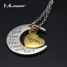 Meetcute New Coming 2pcs  Lot Warm Families Name Carved Heart Moon Pendant  Collar Necklace Pendants Best Gift for Family Couple bab7989e50fd