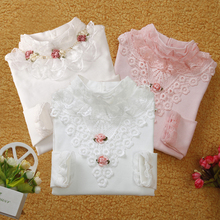 3-13T School Girl Blouse Shirts For Girls Girls Blouse Kids Clothing For Teenagers Soild Korean Backing Shirt With Flowers(China)