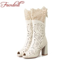 sexy high heels fashion peep toe cut-outs leather+lace summer boots womens sandals ladies white shoes woman ankle boots platform