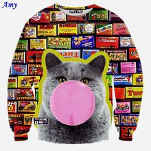 [Amy] Autumn new fashion women 3D sweatshirts print cartoon Blow the balloon cat funny casual sweatshirt tops clothing WY43