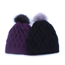 1pcs black Women Faux Fur Ball Winter Warm Crochet Knit Ski Hat Pom Caps Beanie