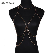 Miwens Brand 2017 Women fashion full Crystal Rhinestone Bikini Necklaces Gold Silver Body Jewelry Waist Chains Necklace 7823