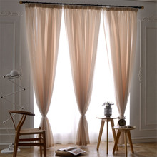 Hot sale Customized Solid color organza curtains Polyester cotton Tulle window treatments bedroom living room Curtains gardinen(China)