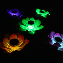 Flower Solar LED Lights Garden Park Outdoor Color Changing lotus Lamp Pond Swimming Pool Decoration Waterproof Leaf Lantern