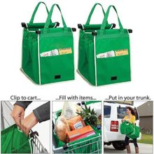 Reusable Large Trolley Clip-To-Cart Grocery  Bags Portable Green Cloth Bag Foldable Tote Handbags