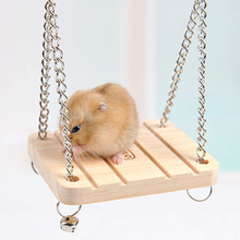 Pet Toys Hamster Rabbit Mouse Chinchilla Wooden Hanging Pet Hammock Small Swing Winter Toys Cage Accessories  LS
