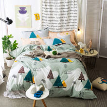 Cartoon Tree Leaves Quilt/Duvet Cover Brown White Plaid Bedding Sets Full Queen Sizes 4/5PC Pillowshams Kids/Boys Cotton 400TC(China)