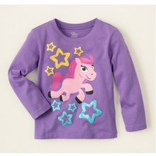purple pony Girls t-shirts Children Clothes Kids T Shirt Tops 100% Cotton 18Month 2 3 4 5 6 Years