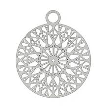 "DoreenBeads Stainless Steel Charm Pendants Round dull silver color Hollow Flower 22mm(7/8"")x 18mm(6/8""),20 PCs(China)"