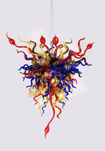 Free Shipping Pure Handmade Elegant Lamp Cheap Crystal Colored Glass Chandelier