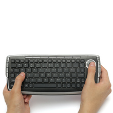 Multifunctional USB 2.4GHZ Wireless Mini 78 Keys Keyboard Touchpad Media Centre With Trackball Mouse For PC For PS4 For Smart TV(China)