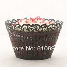 120pcs/lot Free shipping Black Shivering little vine cup cake case wrap liner box laser cut wedding birthday cupcake wrappers