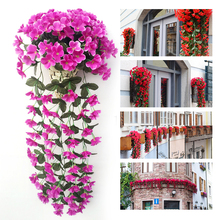 Violet Artificial Flower Decoration Simulation Wall Hanging Basket Flower Orchid Silk Flower Vine T45