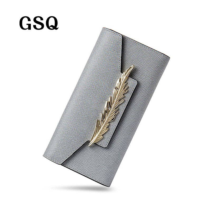 GSQ Fashion Metal Decoration Leather Women Long Wallet Hot Lady Style Women Bag Famous Brands High Quality Wallets Famale Purse<br><br>Aliexpress