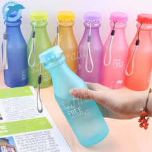 LINSBAYWU Hot Sale 550ML Candy Colord Portable Leak-proof Water Bottle Sport Unbreakable Plastic Lemon Juice Drinkware(China)