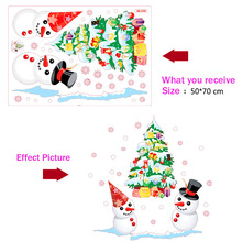 Removable Cartoon Christmas Tree Snowman PVC Wall Sticker Static Cling Window Decal