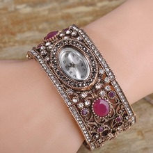 Turkish Vintage Bangle Bracelet Watch Flexible Open Cuff Hand Jewelry Crystal Acrylic Fashion Pulseiras Relogio Feminino Gifts