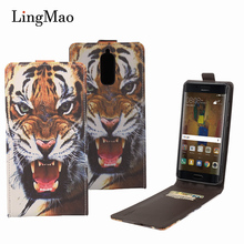Lingmao for Huawei Mate 9 Pro Case Leather Tiger Pattern Flip Wallet Phone Case Cover for Huawei Mate 9 Pro Card Holder Case