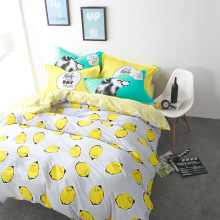 Yellow bedding sets lemon printed quilt cover bedsheet pillowcase 100% cotton bed set juegos de cama queen size double twin size
