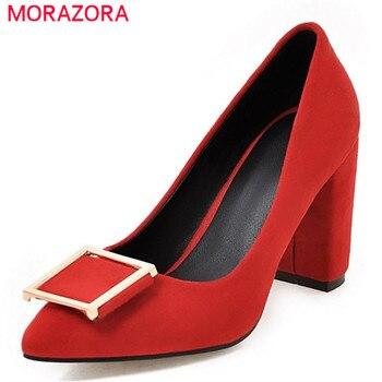 Morazora 2017 quatro estações sapatos único rasa dedo apontado sapatos de salto alto mulher sapatos de festa de casamento moda feminina bombas