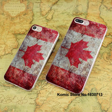 Canada Grunge Flag design hard transparent clear Cover Case for Apple iPhone 7 6 6s Plus SE 4s 5s 5c