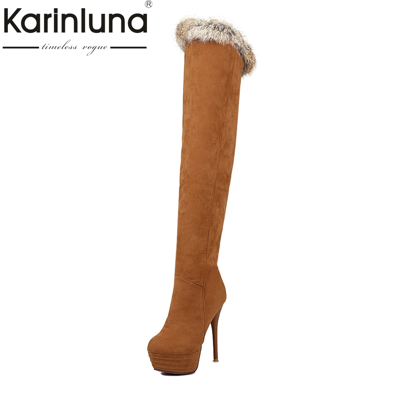 KARINLUNA 2017 Large Size 32-43 Platform Women Shoes Sexy Thin High Heels Over The Knee Boot Black Winter Boots Woman Rabbit Fur<br>