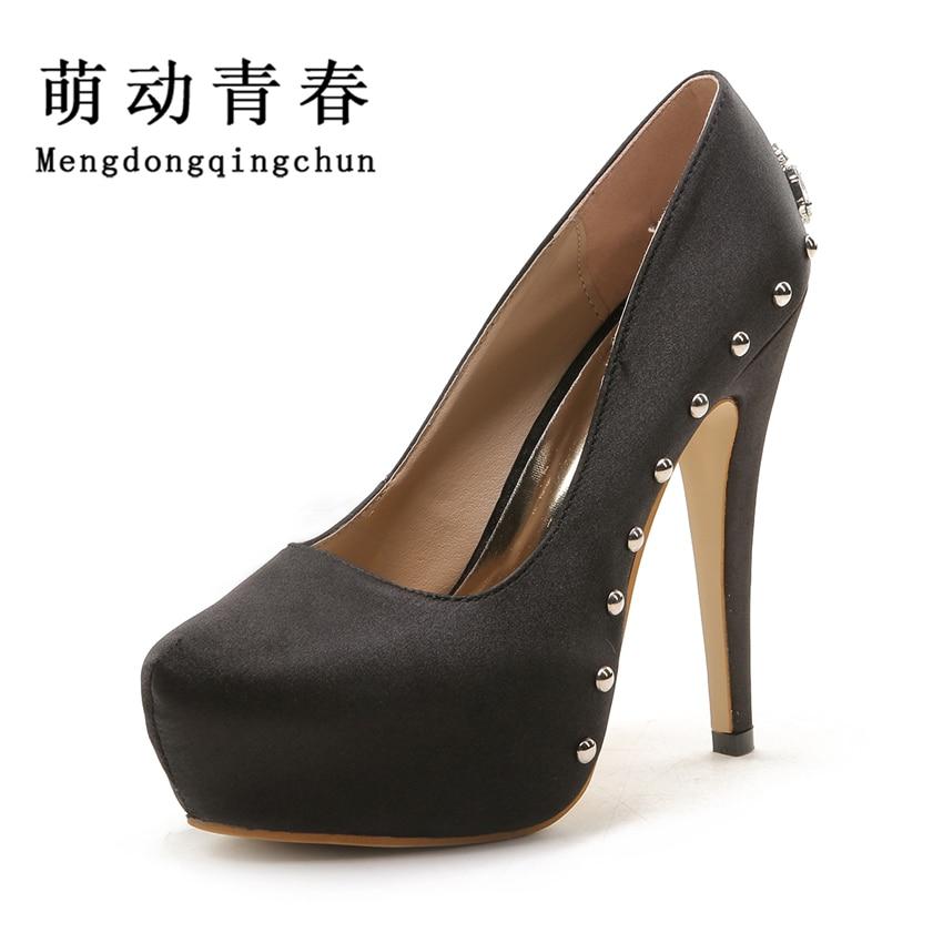 Fashion Satin Women Pumps Sexy Rhinestone Rivets Platform Shoes High Heels Wedding Dress Shoes Woman Zapatos Mujer Plus Size 43<br>