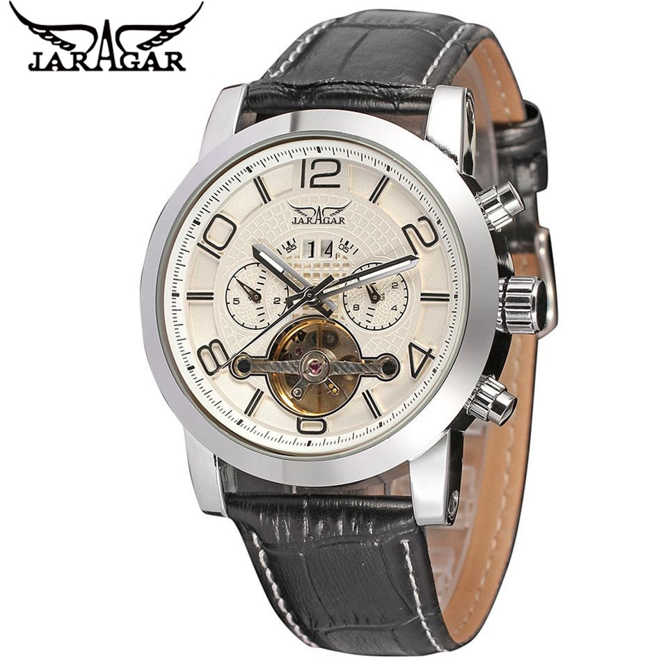 Relojes Hombre 2017 JARAGAR Luxury Watches Men Day/24 Hours Flywheel Automatic Mechanical Watch Wristwatch Free Ship<br>