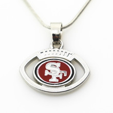 10pcs San Francisco 49ers USA Team Football sports necklace Jewelry with snake chain(45+5cm) necklace Charms Pendant(China)