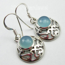 Cabochon AQUA CHALCEDONY  Earrings 3.1CM,  Pure  Silver Jewelry