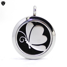 Fashion Stainless Steel Jewelry Butterfly Design Aromatherapy Essential Oil Diffuser Necklace Round Perfume Scent Locket