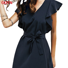OOTN Casual Autumn Dress Women Tunic Belt Ruffles Mini Dresses Female Navy Blue V neck Butterfly Sleeve Robes Summer Sundress