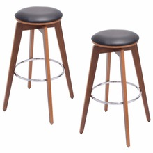 Goplus Set of 2 Bentwood Swivel Bar Stools PU Leather Modern Barstools Bistro Pub Chair HW52770(China)