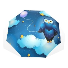 Original Cute Owl Automatic Umbrella Sun Rain Women Cartoon Animal Parasol Lady Plegable Sombrilla Paraguas(China)