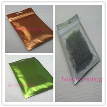 8.5x13cm 100pcs Colored aluminium ziplock bag - one side frosted clear aluminizing foil pouch zipper reclosable pack with holes