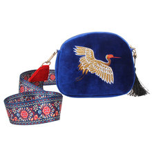 Chinese Style Ethnic Women Messenger Bags Pleuche Embroidery Crane Shoulder Bag Fashion Ribbon Crossbody Bag Small Package Bolsa(China)