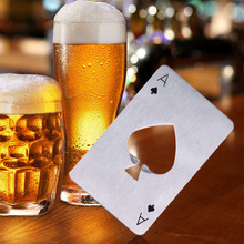 1pcs Poker Shape Bottle Opener Stainless Steel Playing Card Ace Soda Beer Cap Opener Portable Bar Tools