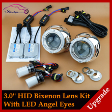 Car Styling Retrofit Automobiles Upgrade Fiber Optics LED Angel Eyes Halo HID 3.0 Bi xenon Lens Projector Headlight Full Kit